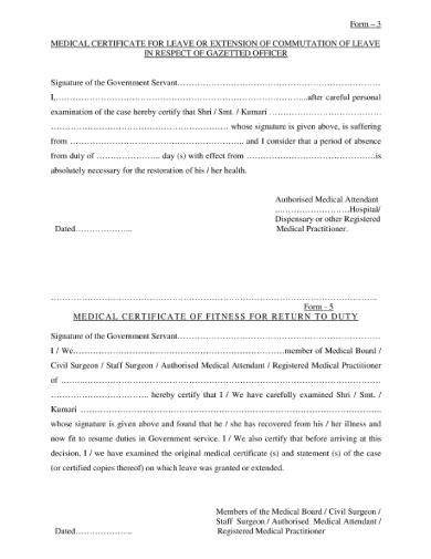 gazetted officer medical leave certificate