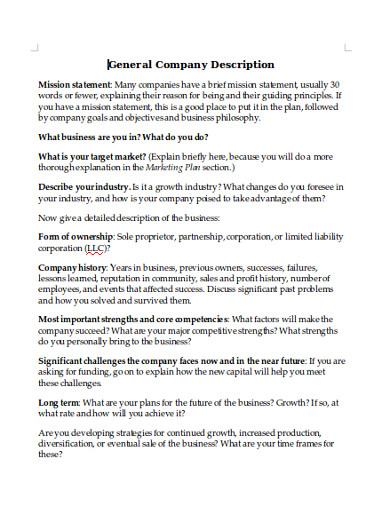 general company description