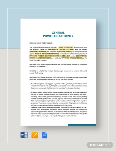 genral power of attorney agreement
