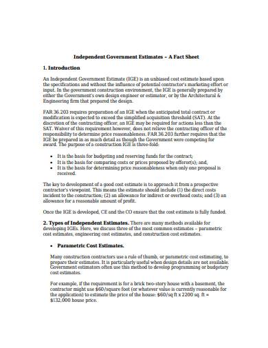 government construction estimate