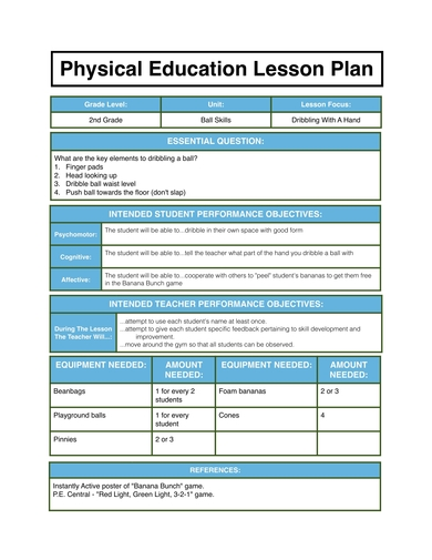 grade 2 physical education lesson plan