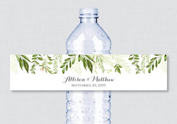greenery wedding water bottle label