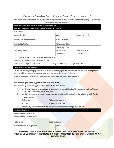 guardian travel consent form