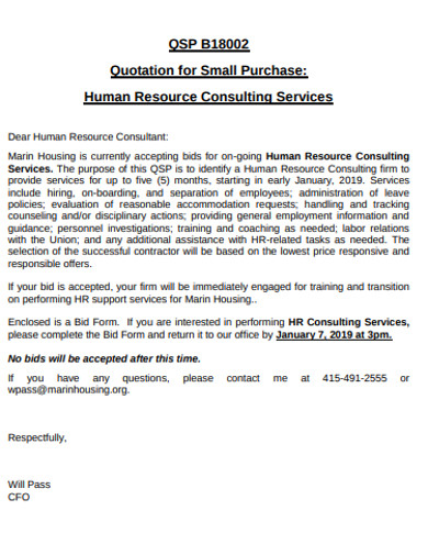 hr consulting quotation services