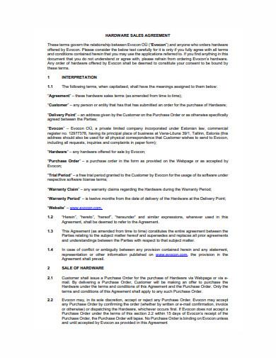 hardware sales agreement