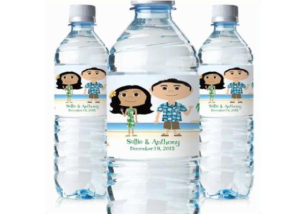 hawaiian wedding water bottle label