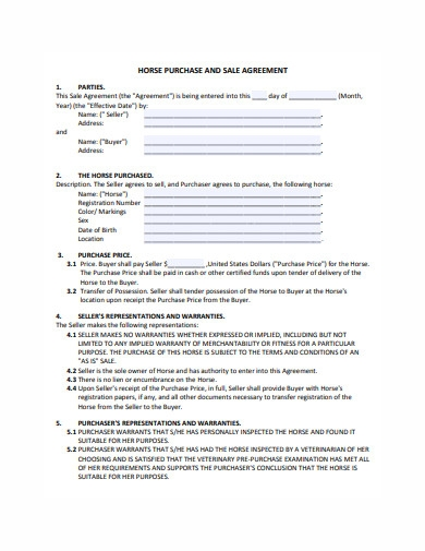 horse purchase and sale agreement