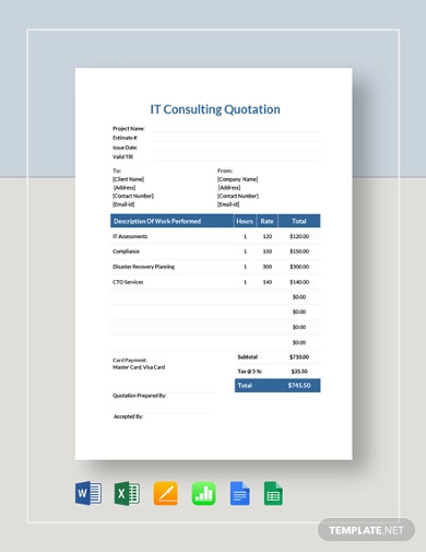 it consulting quotation template
