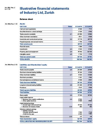 illustrative company financial statement