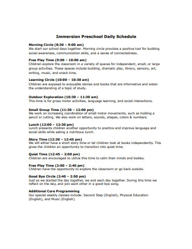 immersion preschool daily schedule