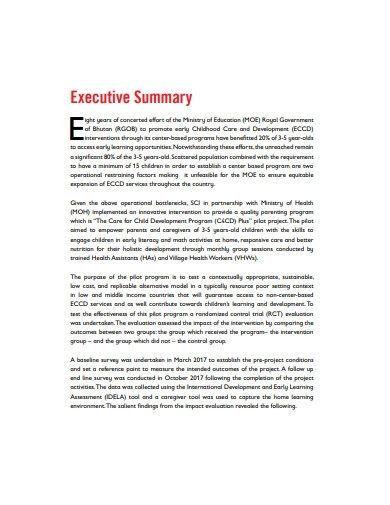 impact evaluation report summary