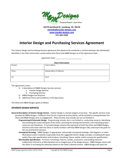 interior design and purchasing services agreement contract