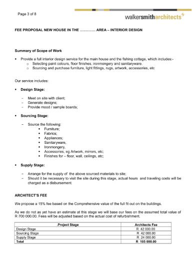 interior designer fee proposal contract