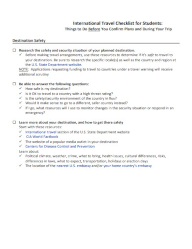 international travel checklist for students