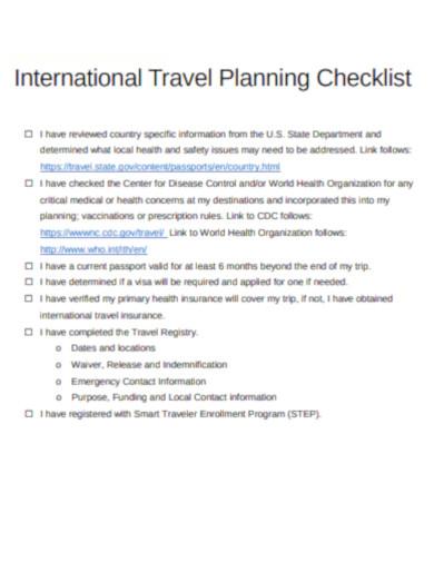 international travel planning checklist