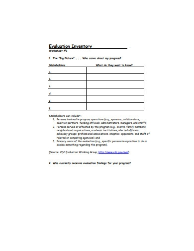 inventory evaluation worksheet template
