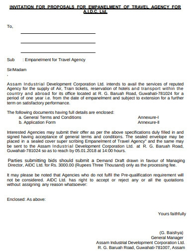 invitation for proposals of travel agency