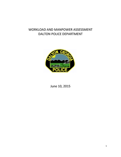 itemized workload analysis for police departments