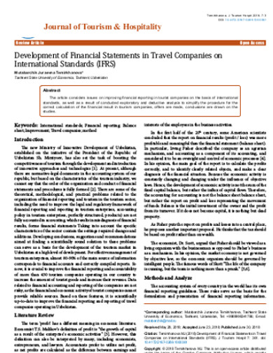 journal of tourism company financial statement