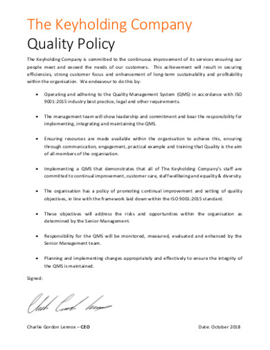 keyholding company quality policy