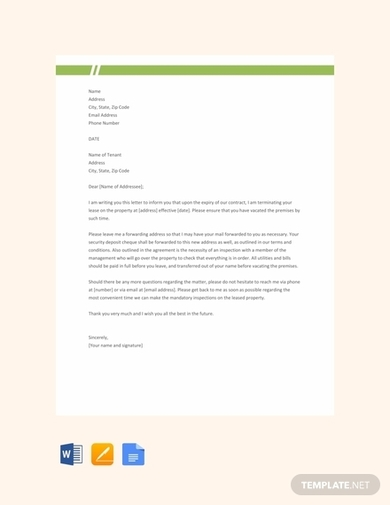 landlord end of lease letter to tenant