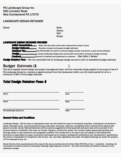 landscape budget estimate