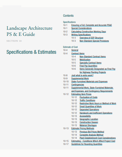 landscape estimate in pdf