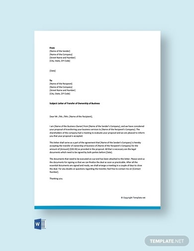 Free 10  Ownership Transfer Letter Examples And Templates