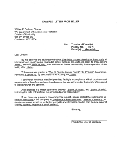 letter of transfer of ownership from the seller