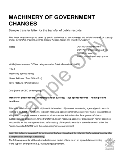 letter of transfer of ownership of public records