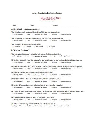 library orientation evaluation survey