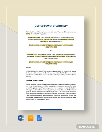limited power of attorney agreement
