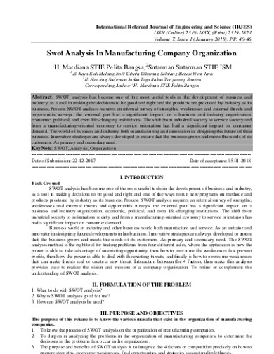 manufacturing company company swot analysis