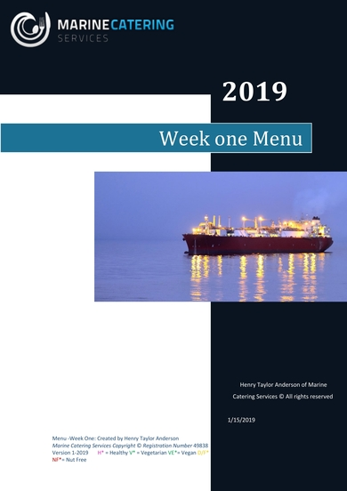 marine catering services weekly catering menu