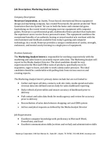 marketing analyst company description