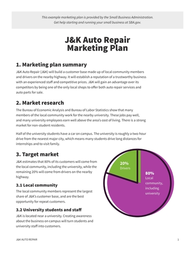 marketing plan for auto repair shops