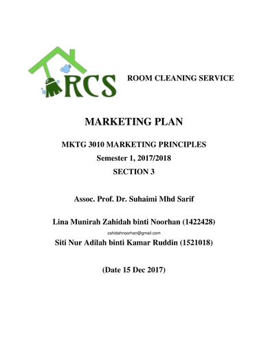 marketing plan for room cleaning services