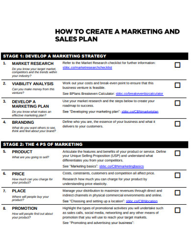 marketing sales plan example