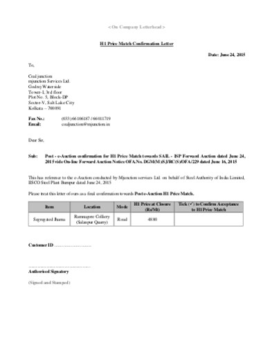 match confirmation company letter
