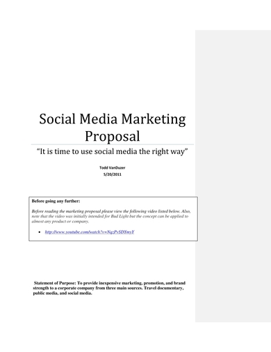 media platform marketing proposal