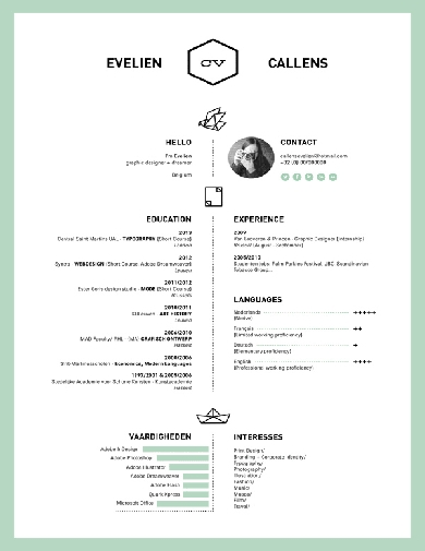 minimalist resume with sky blue features