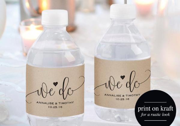 minimalist wedding water bottle label