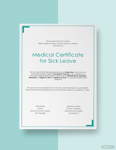 minimilastic medical certificate for sick leave