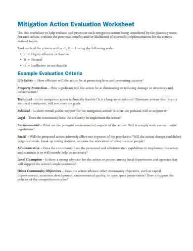 mitigation action evaluation worksheet