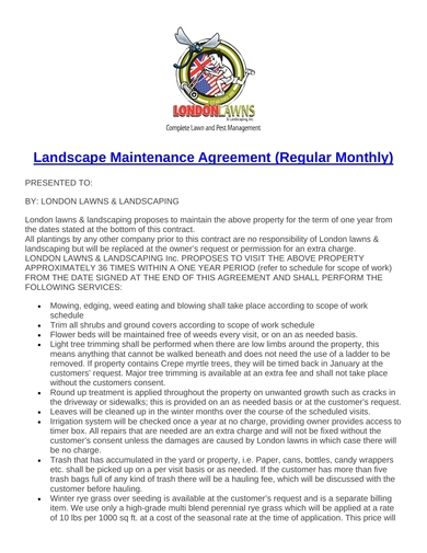 monthly maintenance agreement