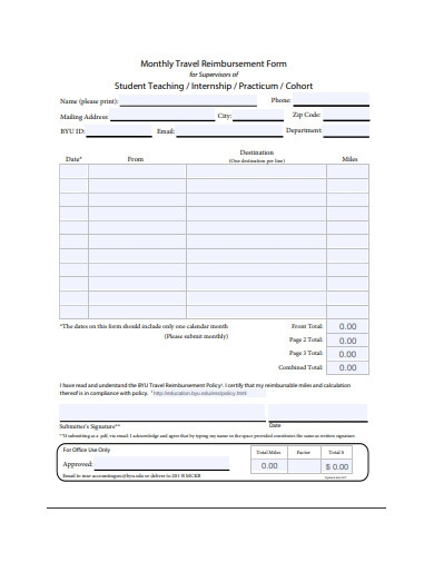 monthly travel reimbursement form