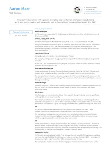 neat resume for web developer