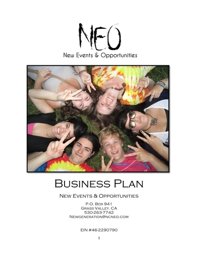 new events and opportunities nonprofit business plan