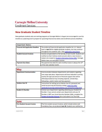 new graduate student timeline