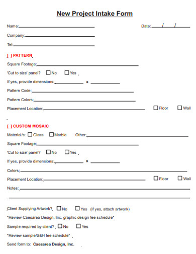 new project intake form